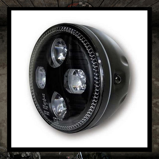 LED Headlight MONKEE Black E approved - 5 3/4""