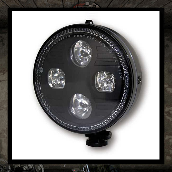 Bates LED Headlight MONKEE Black E approved - 5 3/4""