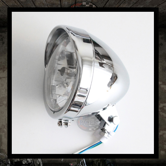 Bates Visor Headlamp Chromed E9 approved - 5 3/4""