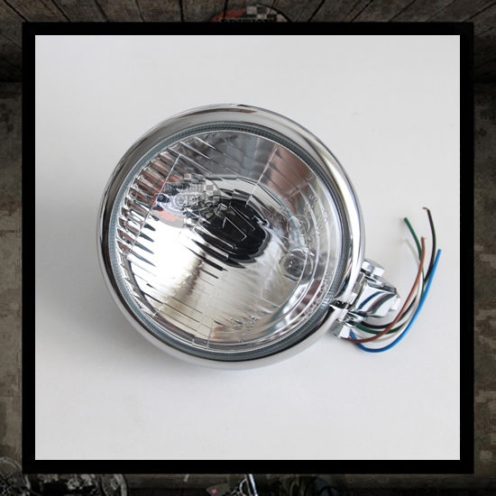 Bates headlamp chromed E4 approved - 5 3/4""