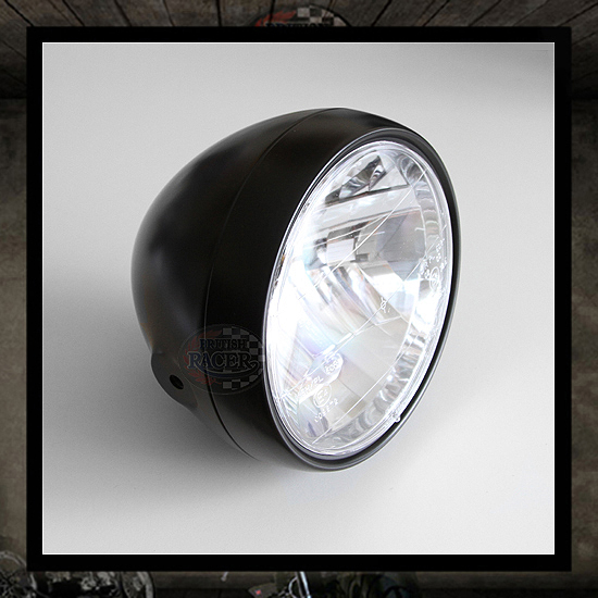 "6 1/2"" Matt black ""Clubman T 865R"" headlight E4 E-marked"