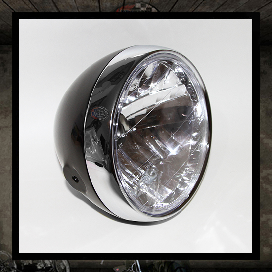 Clubman headlamp glossy black/chrome E4 approved - 6 1/2""