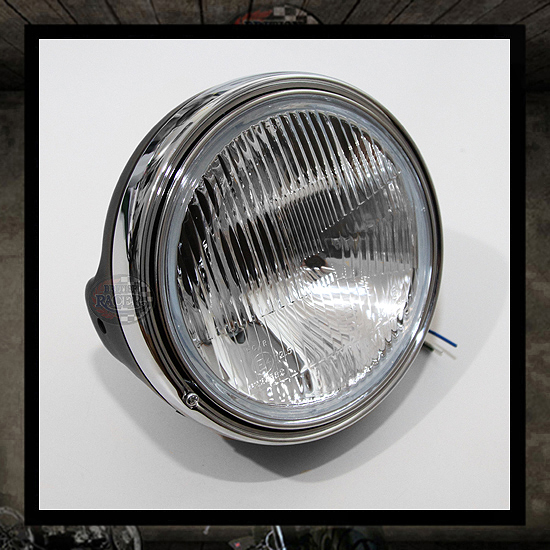 Retro Clubman TT headlamp black/chromed E4 approved - 7""