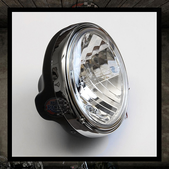Clubman TT Headlamp Black/Chromed E4 approved - 7""