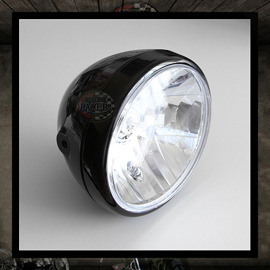 "7""Black headlamp ""Clubman ACE"" PRISM glossy black E4 E-marked"