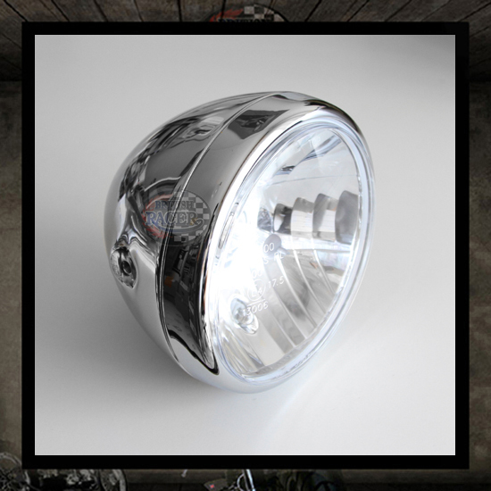 Clubman ACE Headlamp Chromed E4 approved - 7""