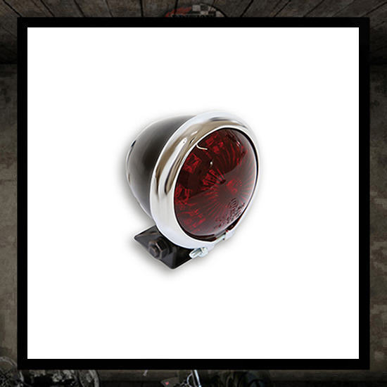 Bates Taillight Mini Black Chrome/Red lens E-marked - LED