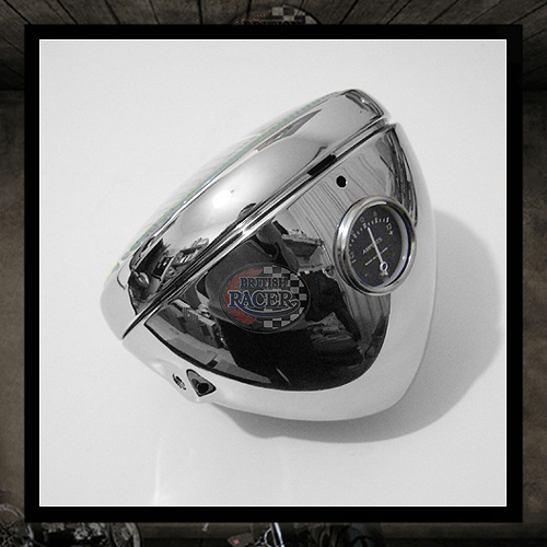 "7"" Chrome ""Lucas"" headlight with Ammeter E11 E-marked"