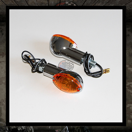 Cat Eye chrome turn signals - Orange E-marked