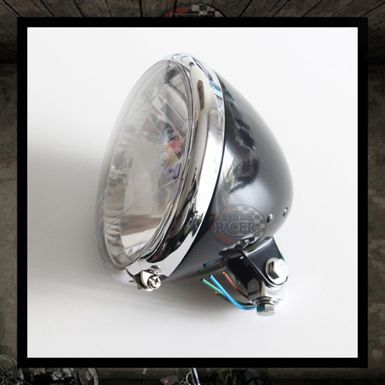 Bates Headlamp Chromed/Black E4 approved - 6 1/2""