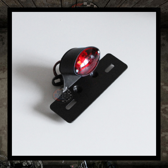 Cat Eye Mini Taillight Black with bracket E-marked