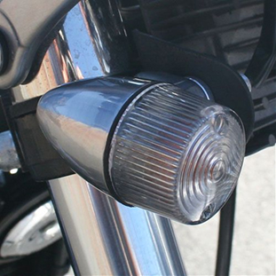 Brushed aluminum Bullet turn signals Clear lens