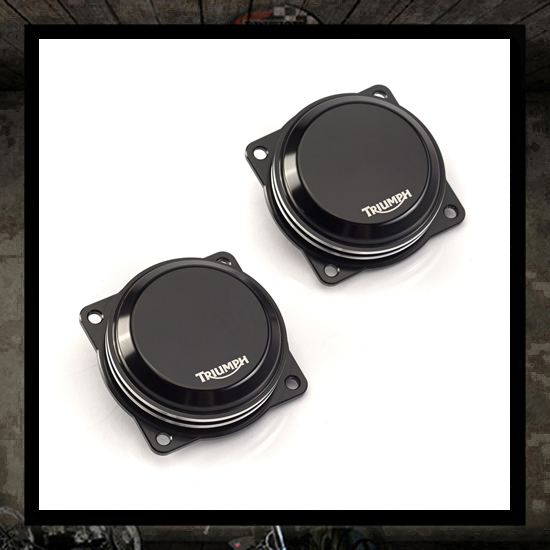 carburetor covers with Triumph logo - EFI