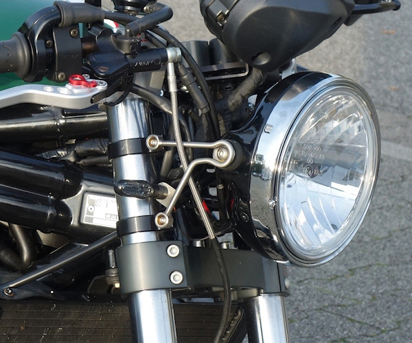 """Retro"" headlight brackets with indicators hole Ø 41/43 mm"