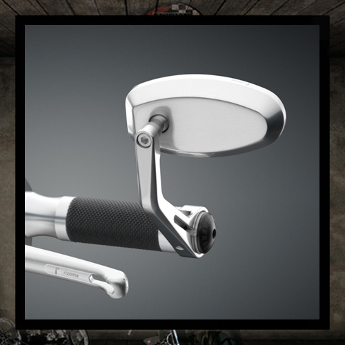 REVERSE RETRO RIZOMA Silver Aluminum Bar End Mirror