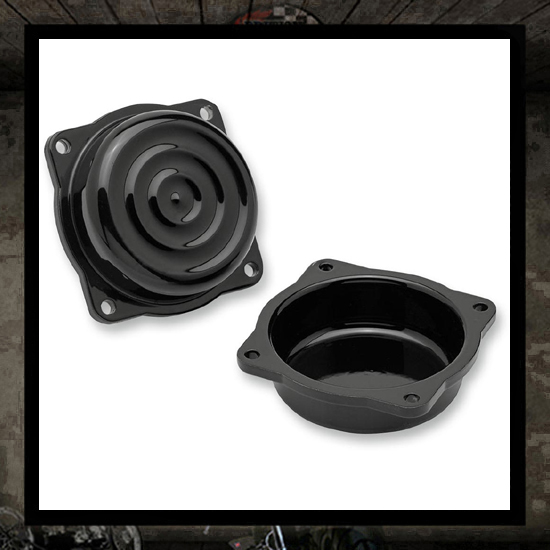 black retro Triumph carburetor top efi