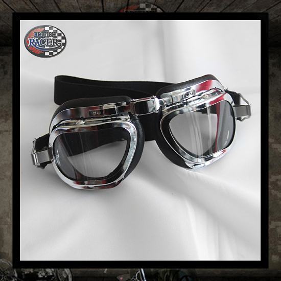 Black Chrome Mark Halcyon Motorcycle goggles
