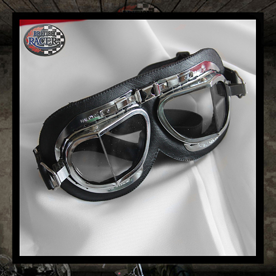Black Chrome de Luxe Halcyon Motorcycle goggles