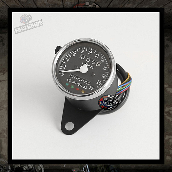 Mini speedometer RETRO Black/Stainless steel ring