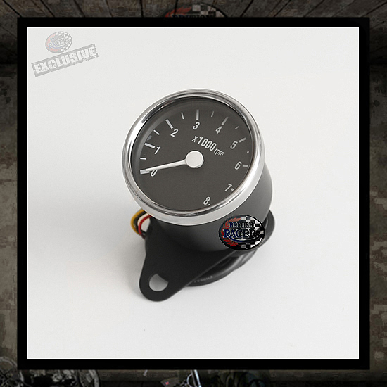Mini tachometer RETRO Black/Stainless steel ring