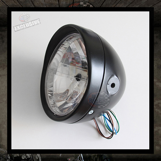 Visor Headlamp Black E4 approved - 6 1/2""