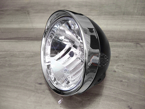 Visor headlamp black/chromed E4 approved - 6 1/2""