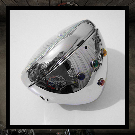 "7"" Chrome ""Lucas"" headlight with warning lights E11 E-marked"