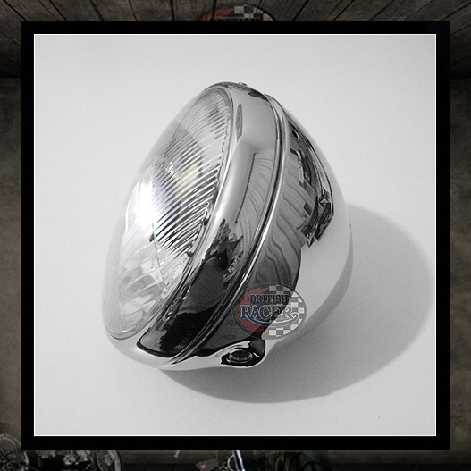 Lucas Headlamp Chromed E11 approved - 7""
