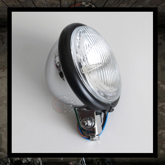 Bates Headlamp Black/Chromed E4 approved - 5 3/4""
