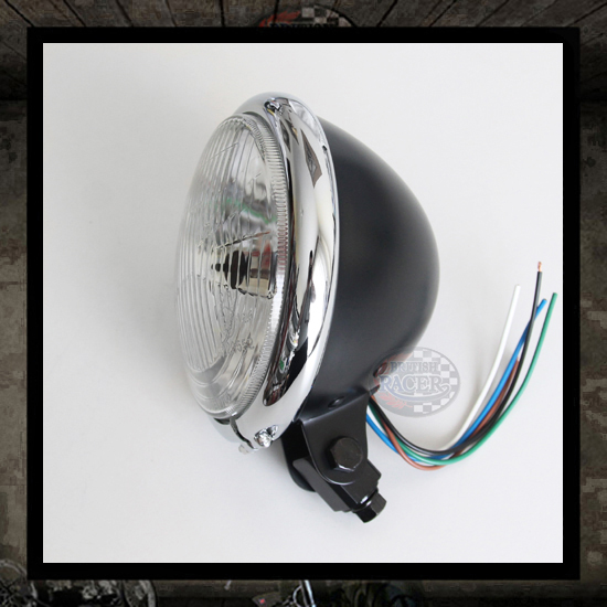 Bates Headlamp Chromed/Black E4 approved - 5 3/4""
