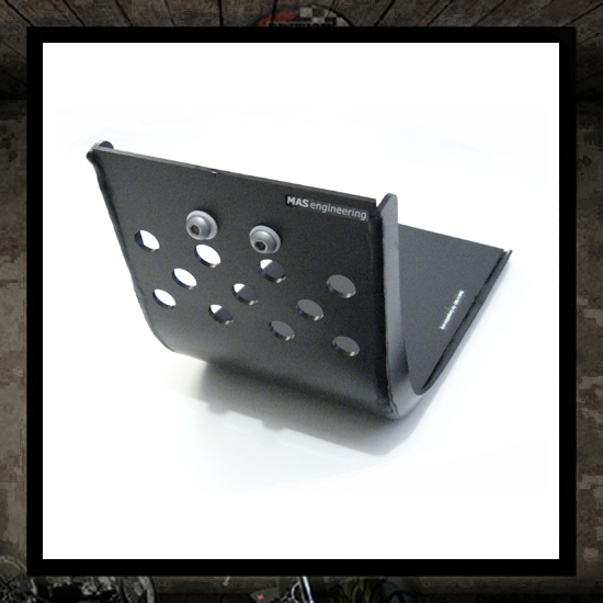black aluminum skid plate Rumbler project mas engineering
